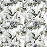 Seamless wallpaper with stylized flowers. Watercolor illustration Royalty Free Stock Images