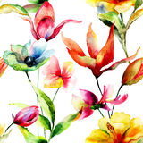 Seamless wallpaper with stylized flowers Royalty Free Stock Images