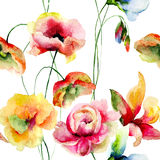 Seamless wallpaper with stylized flowers Royalty Free Stock Photography