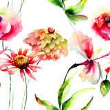 Seamless wallpaper with stylized flowers Royalty Free Stock Photo