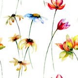Seamless wallpaper with stylized flowers Stock Photos