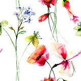 Seamless wallpaper with Stylized flowers Stock Photo