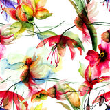 Seamless wallpaper with stylized flowers Royalty Free Stock Image