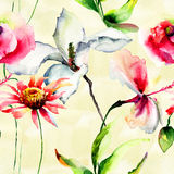 Seamless wallpaper with stylized flowers Stock Photography