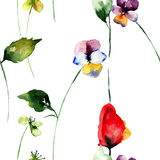 Seamless wallpaper with Stylized flowers Royalty Free Stock Photos