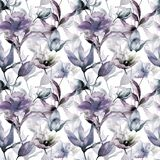Seamless wallpaper with stylized flowers. Watercolor illustration Stock Photography