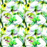 Seamless wallpaper with stylized flowers. Watercolor illustration Stock Image
