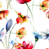 Seamless wallpaper with stylized Spring flowers Royalty Free Stock Photos