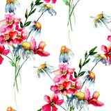 Seamless wallpaper with Stylized wild flowers Stock Photography