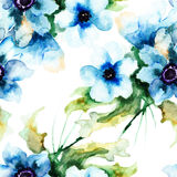 Seamless wallpaper with Summer blue flowers. Watercolor illustration Stock Image