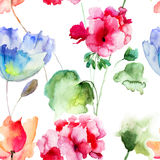 Seamless wallpaper with summer flowers Stock Photos