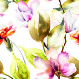 Seamless wallpaper with Summer flowers Stock Image