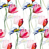 Seamless wallpaper with Summer flowers. Watercolor illustration Stock Photo