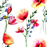 Seamless wallpaper with Summer flowers. Watercolor illustration Royalty Free Stock Photo