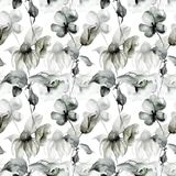 Seamless wallpaper with summer flowers. Watercolor illustration Stock Image