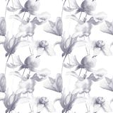 Seamless wallpaper with summer flowers. Watercolor painting Stock Photo