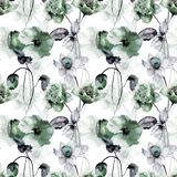 Seamless wallpaper with summer flowers. Watercolor painting Stock Photos