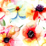 Seamless wallpaper with summer flowers Royalty Free Stock Image