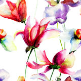 Seamless wallpaper with summer flowers Royalty Free Stock Images
