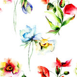 Seamless wallpaper with summer flowers Stock Images