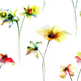 Seamless wallpaper with summer flowers Stock Photo