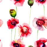 Seamless wallpaper with summer flowers Royalty Free Stock Photos