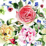 Seamless wallpaper with summer flowers Royalty Free Stock Photo