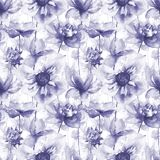 Seamless wallpaper with summer flowers. Watercolor painting Stock Photography
