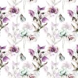 Seamless wallpaper with summer flowers. Watercolor painting Royalty Free Stock Photography