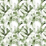 Seamless wallpaper with summer flowers. Watercolor painting Royalty Free Stock Images