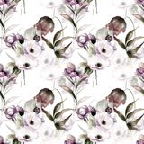 Seamless wallpaper with summer flowers. Watercolor painting Royalty Free Stock Photos
