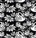 Seamless wallpaper with swan and flower image Stock Photos