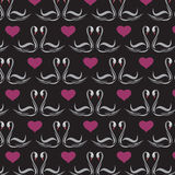Seamless wallpaper swans and heart. Royalty Free Stock Images