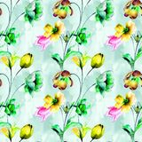 Seamless wallpaper with Tulip and Narcissus flowers. Watercolor illustration Royalty Free Stock Images