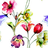 Seamless wallpaper with Tulip and Narcissus flowers Stock Photos
