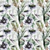 Seamless wallpaper with Tulips and Camomile flowers. Watercolor illustration Royalty Free Stock Image