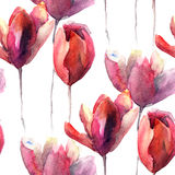 Seamless wallpaper with Tulips flowers Stock Photography