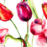 Seamless wallpaper with Tulips flowers Stock Image