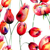 Seamless wallpaper with Tulips flowers Stock Photos