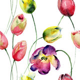 Seamless wallpaper with Tulips flowers Royalty Free Stock Photos
