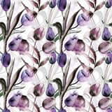 Seamless wallpaper with Tulips flowers. Watercolor painting Stock Image