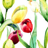 Seamless wallpaper with Tulips flowers Royalty Free Stock Images