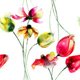 Seamless wallpaper with Tulips and Gerbera flowers Stock Images