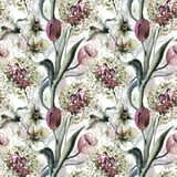 Seamless wallpaper with Tulips and Narcissus flowers. Watercolor painting Stock Photo