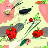 Seamless wallpaper with vegetables Royalty Free Stock Images