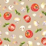 Seamless wallpaper with vegetables for cooking on beige background Stock Photo