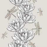Seamless wallpaper with water lilies and dragonflies, hand-drawi Stock Photo