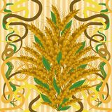 Seamless wallpaper with wheat in art nouveau style, Royalty Free Stock Image