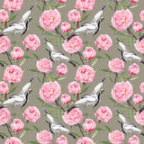 Seamless wallpaper - white crane birds dance, pink flowers. Floral watercolor Royalty Free Stock Photos