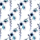 Seamless wallpaper with White Gerber flowers. Watercolor illustration Royalty Free Stock Photos